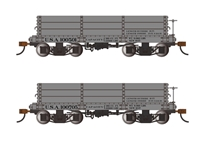 18' Low Side Gondolas USA #100501 & #100705 - Gray (2 per box)