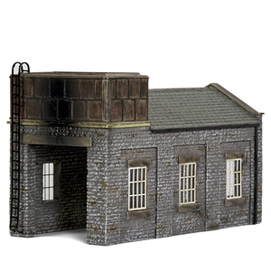 42-0002 Scale Stone Engine Shed with Tank