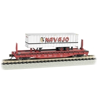 "52'6"" Flat Car Santa Fe with Navajo Freight Lines Trailer"