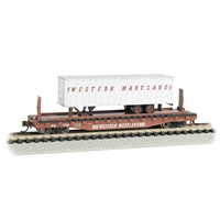 "52'6"" Flat Car Western Maryland with W. Maryland Trailer"