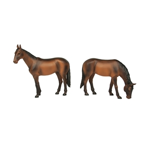 Horses Standing and Grazing