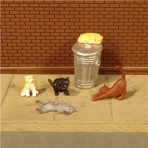 Cats with Garbage Can (6/Pack)