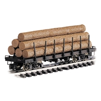 Flat Log Car with Logs - Painted, Unlettered