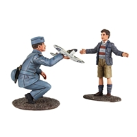 RAF Pilot with Model Spitfire and Child - 2 Piece Set
