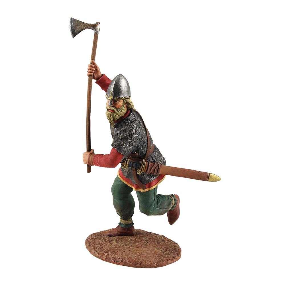 Viking wearing Spangenhelm, attacking with axe
