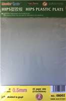 0.5mm HIPS plastic sheet (210x300mm x 2 pcs)