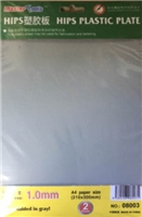 1.0mm HIPS plastic sheet (210x300mm x 2 pcs)