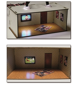 2 pcs Illuminated Rooms w/flat TVs News & Sports (H0/00 kit)