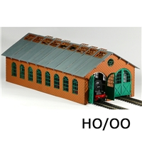 H0/00 Double Engine Loco Shed (Long) w/Interior Lighting