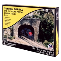 HO Cut Stone Double Tunnel Portal