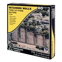 HO Cut Stone Retaining Wall (x3)
