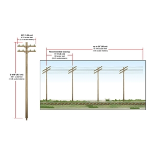 WUS2251 N Wired Poles Double Crossbar Dims